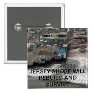 Huricane Sandy and Rebuilding the Jersey Shore 15 Cm Square Badge