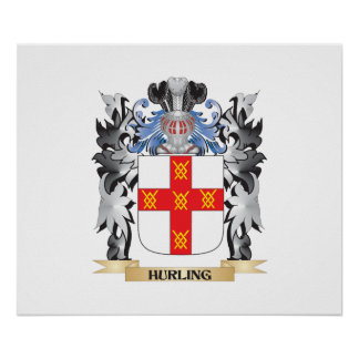 Hurling Coat of Arms - Family Crest Poster