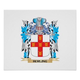 Hurling Coat of Arms - Family Crest Print
