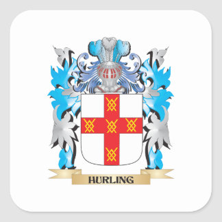 Hurling Coat of Arms - Family Crest Square Sticker