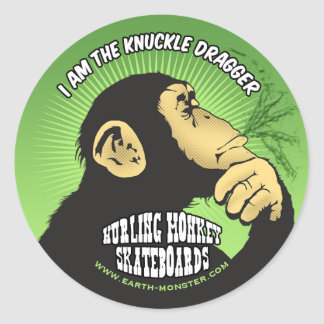 Hurling Monkey Window Classic Round Sticker