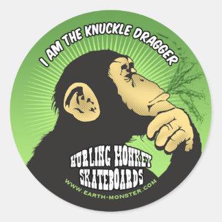 Hurling Monkey Window Round Sticker