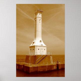 Huron lighthouse sepia print