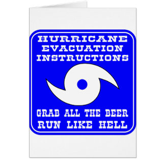 Hurricane Evacuation Instructions Plan Card