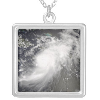 Hurricane Gustav over Hispaniola Silver Plated Necklace
