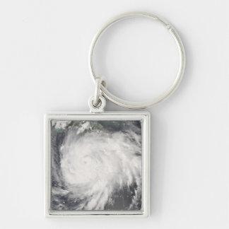 Hurricane Gustav over Jamaica Silver-Colored Square Key Ring