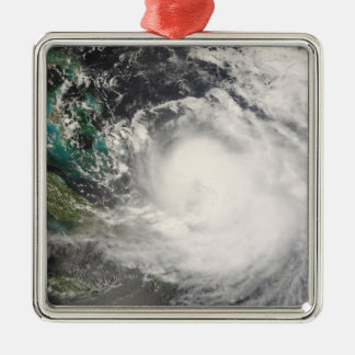 Hurricane Hanna over the Bahamas Silver-Colored Square Decoration