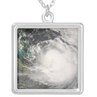 Hurricane Hanna over the Bahamas Silver Plated Necklace