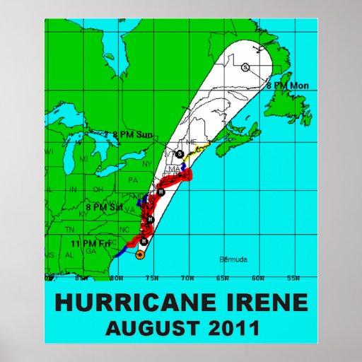 Hurricane Irene Path August 2011 Poster Print 36 b