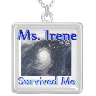 Hurricane Irene Survived Me Square Pendant Necklace