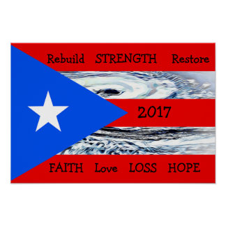Hurricane Maria 2017 Puerto Rico Flag Poster