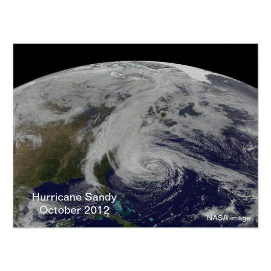 Hurricane Sandy From Space Poster