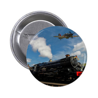Hurricanes and steam train 6 cm round badge