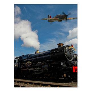 Hurricanes and steam train postcard