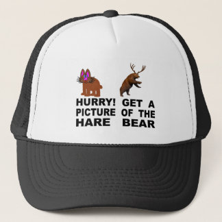 Hurry!  Get A Picture Of The Hare Bear Trucker Hat