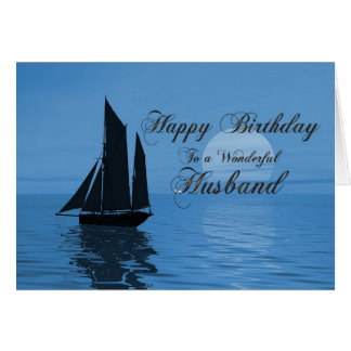 Husband, a moonlight yacht birthday card
