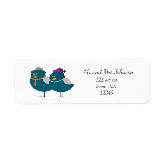 Husband And Wife Birds Return Adress Label