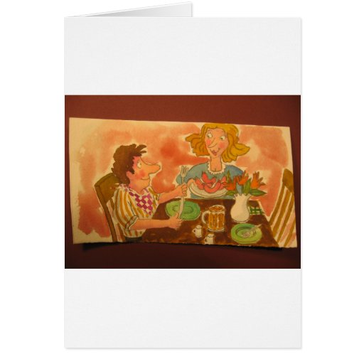 husband and wife love each other, hot dogs, too greeting card