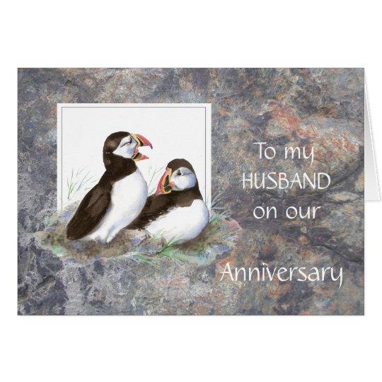 Husband Anniversary - Puffin Humour Card