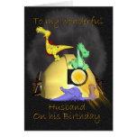 Husband Birthday Card - Coal Miner Dragons
