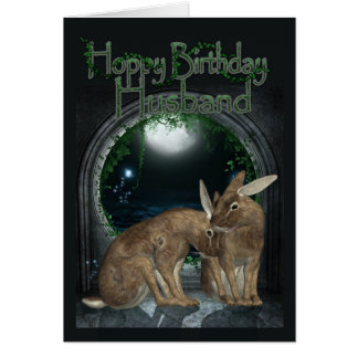 Husband Birthday Card - Hoppy Birthday With Rabbit
