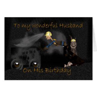 Husband Birthday Card - Miner & Pit Mule