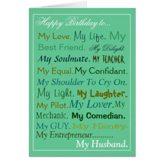 Husband birthday Card. sweetheart card. lover card