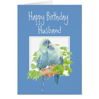 Husband Birthday Cute Romantic Parrots Birds Greeting Cards