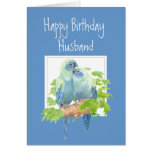 Husband Birthday, Cute Romantic Parrots, Birds Greeting Card