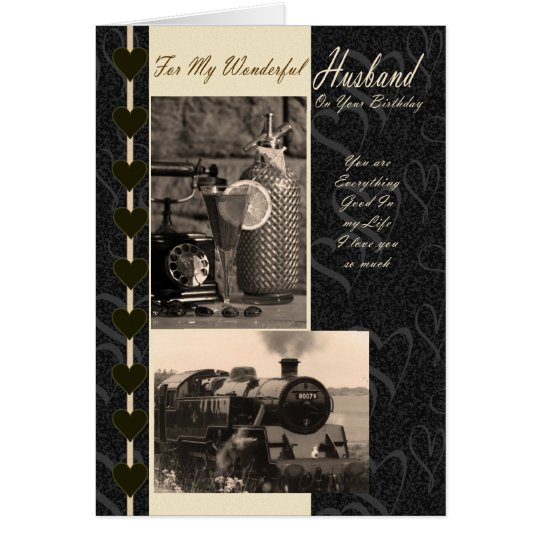 Husband, Birthday Husband steam train Card