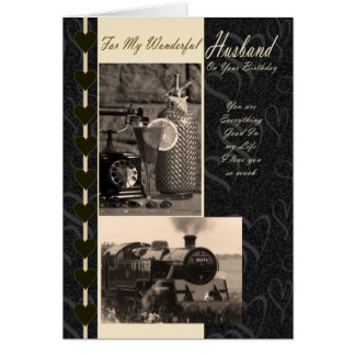 Husband, Birthday Husband steam train Greeting Card