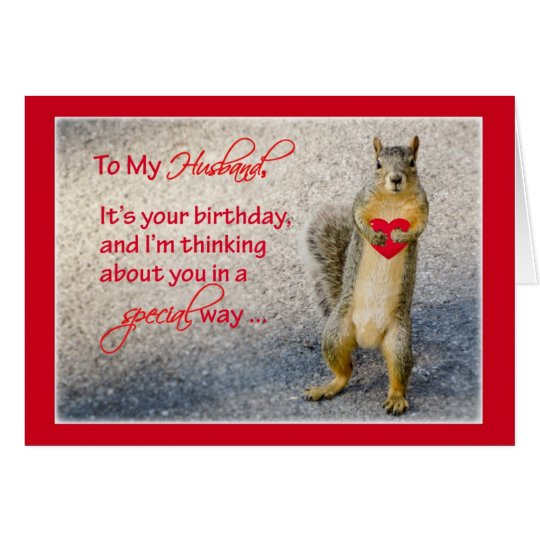 Husband Birthday Squirrel, Holding Red Heart with Card