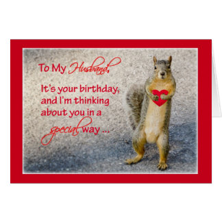 Husband Birthday Squirrel, Holding Red Heart with Greeting Card