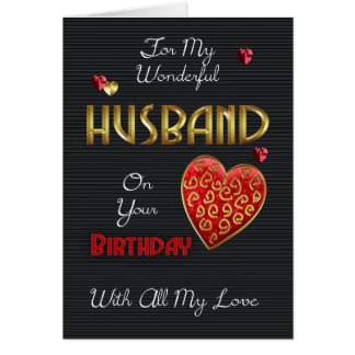 Husband, Birthday With Gold Effect Greeting Card