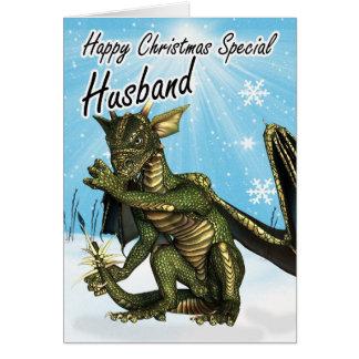 Husband Christmas card eith dragon