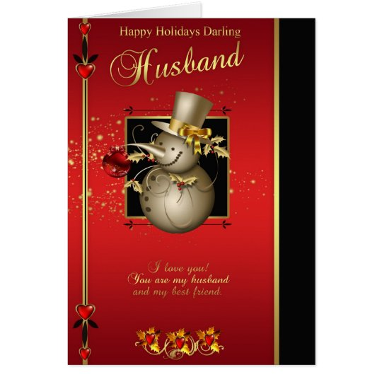 Husband Christmas Card - Gold Effect Snowman -