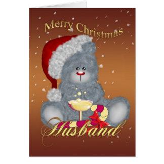 Husband Christmas Card - Teddy Bear In Christmas H