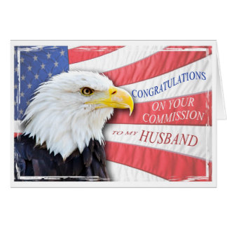Husband,commissioning with a bald eagle greeting cards