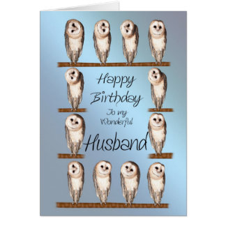 Husband, Curious owls birthday card. Greeting Card