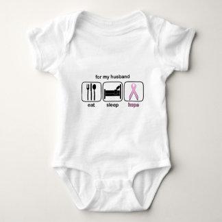 Husband Eat Sleep Hope - Breast Cancer Baby Bodysuit
