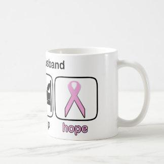 Husband Eat Sleep Hope - Breast Cancer Basic White Mug
