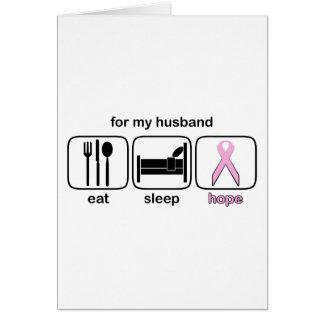 Husband Eat Sleep Hope - Breast Cancer Greeting Card