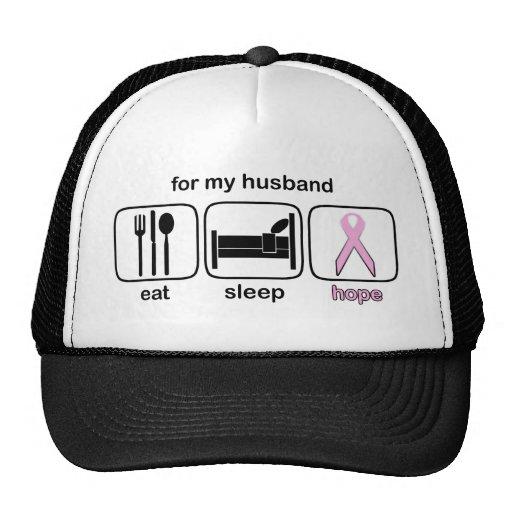 Husband Eat Sleep Hope - Breast Cancer Hat