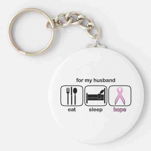 Husband Eat Sleep Hope - Breast Cancer Keychains