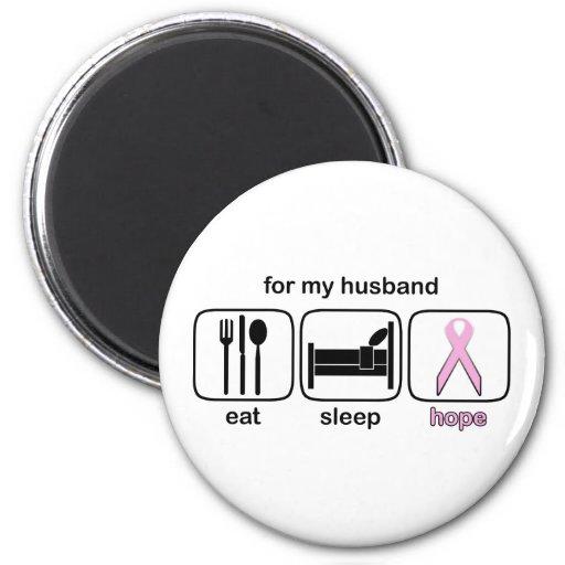 Husband Eat Sleep Hope - Breast Cancer Refrigerator Magnet