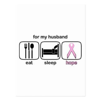 Husband Eat Sleep Hope - Breast Cancer Postcard