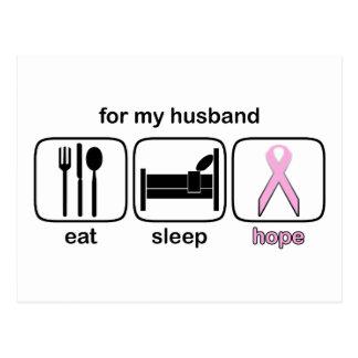 Husband Eat Sleep Hope - Breast Cancer Postcards