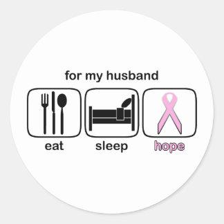 Husband Eat Sleep Hope - Breast Cancer Round Sticker