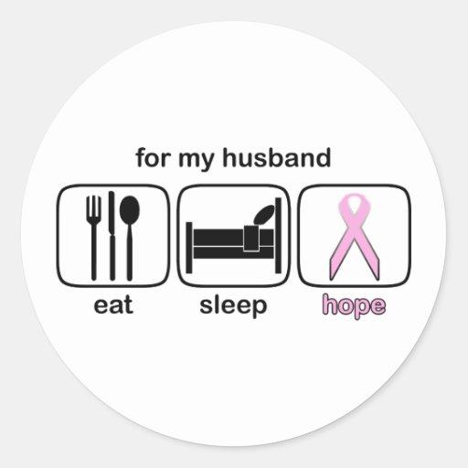 Husband Eat Sleep Hope - Breast Cancer Stickers