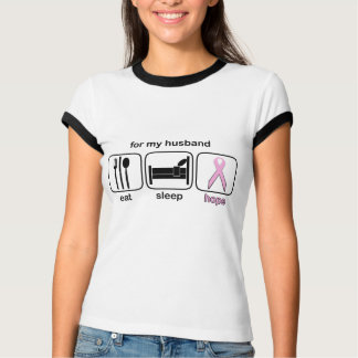 Husband Eat Sleep Hope - Breast Cancer T-Shirt